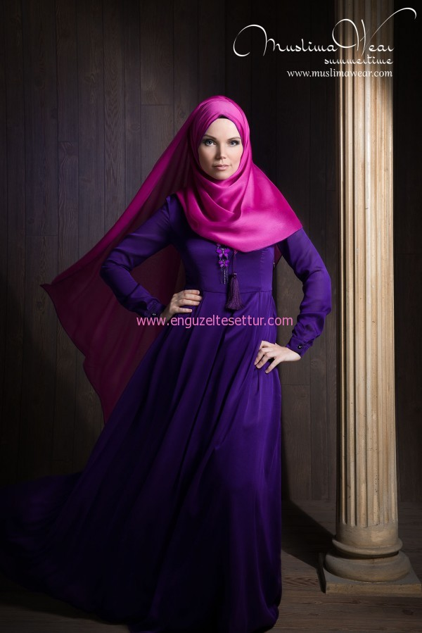 MUSLIMA WEAR SILK WAY dress SAPPHIRE