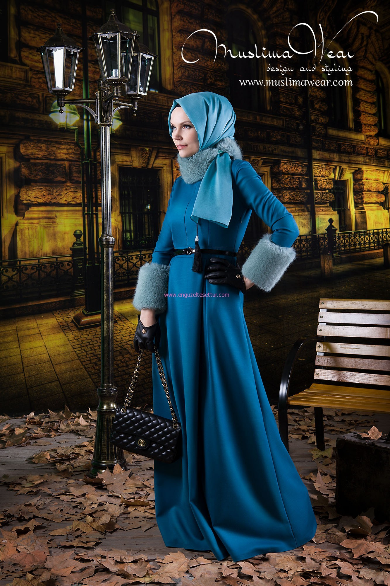 New French Dress in ocean blue color Code 14010 Fall Winter 2013-14