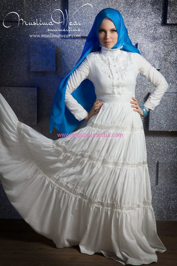 SUMMERTIME MUSLIMA WEAR WATERFALL white dress